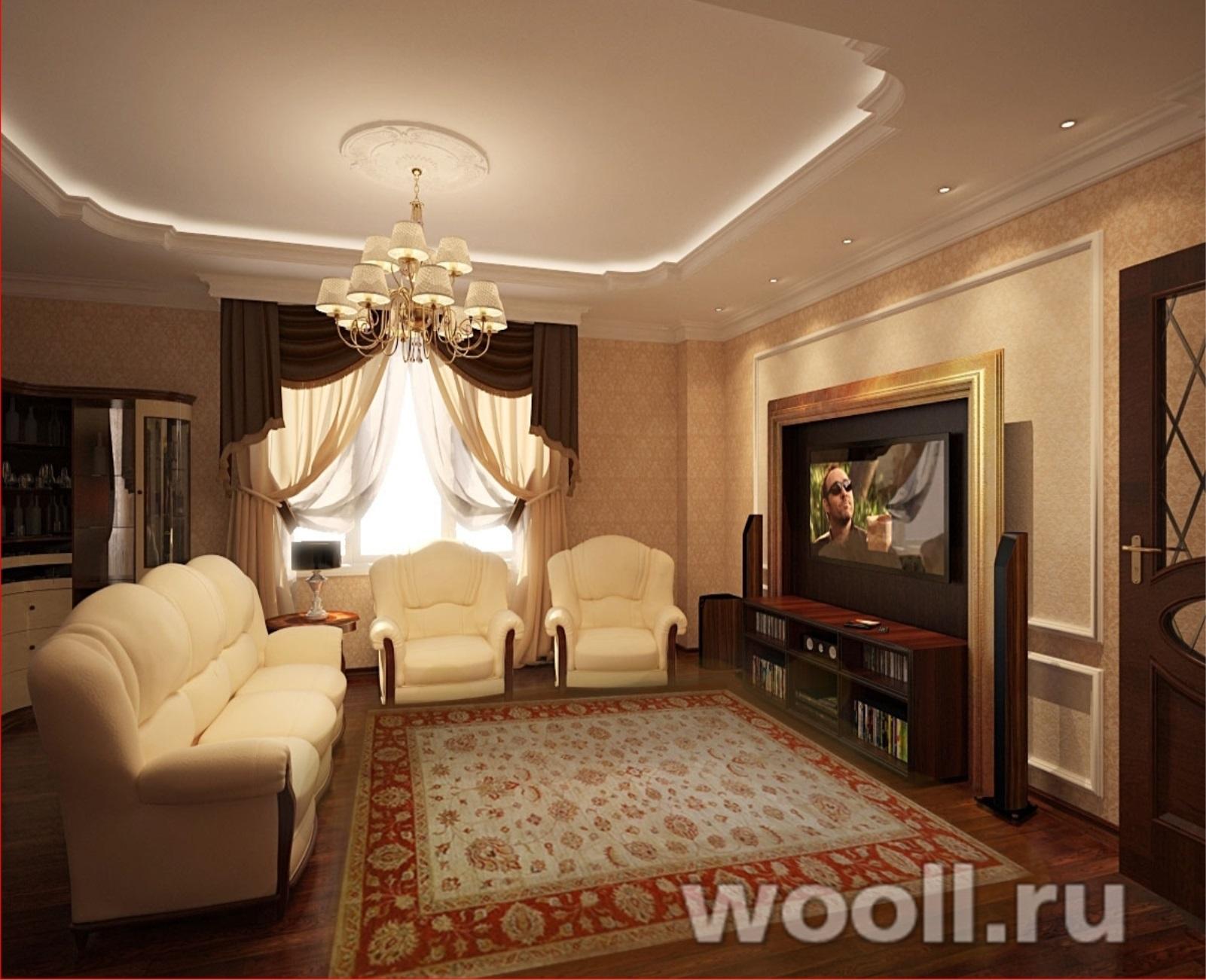 Дизайн гостиной классическом стиле